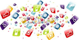Global mobile phone apps icons splash