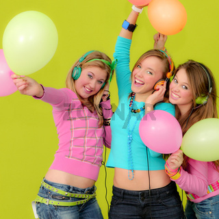neon party fashion girls with balloons