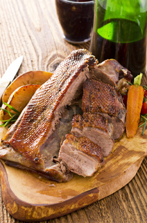 roasted duck breast with vegetables
