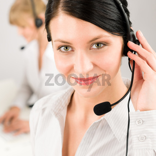 Customer service woman call center phone headset
