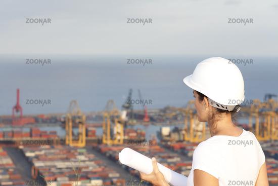 Engineer looks at port
