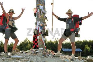 Spanien: Pilgerfreunde am Monte Irago