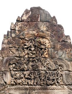 bas relief in Ta Prohm in Angkor, Cambodia