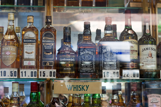 photo duty free shop with bottles of whisky in gibraltar image 3255173