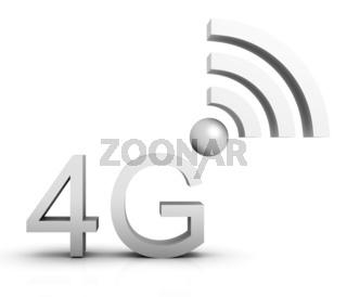 4G Symbol in 3D - Weiß