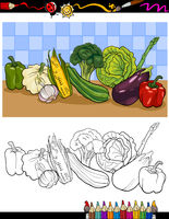 vegetables group illustration for coloring
