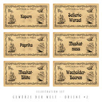 Illustration set spice labels, Orient #2