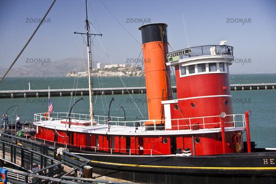 Tugboat and Alcatraz Island