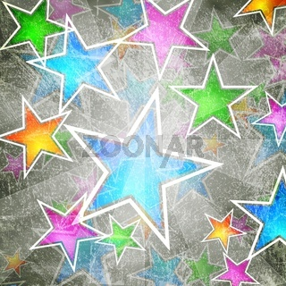 Colourful grunge design with stars. Vector eps 10