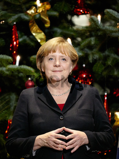 Angela Merkel at the handover ceremony of Christmas trees