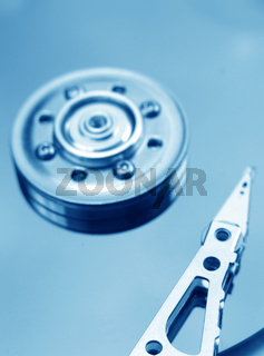Closeup of an opened hard disk drive