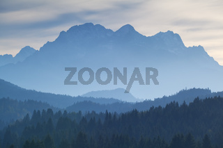 Karwendel mountain range in dusk fog