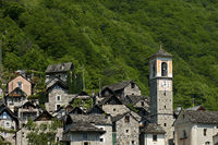 clock tower of the parish church Corippo,Ticino
