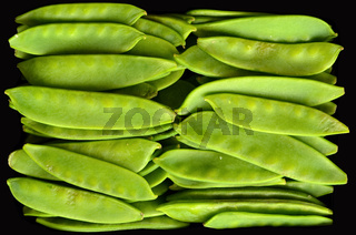 Food Texture Of Organic Fresh Snow Peas WIth Black Background