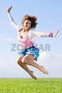 Joyful beautiful young woman