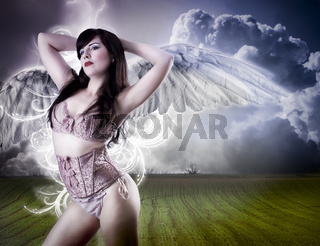 Picture a beautiful angel flying girl in pink lingerie