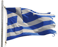 Frayed Greek Flag in the Wind