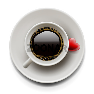 Cup of coffee top view. Valentine's day