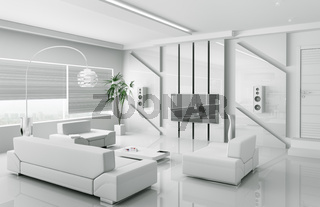 Modern white living room interior 3d