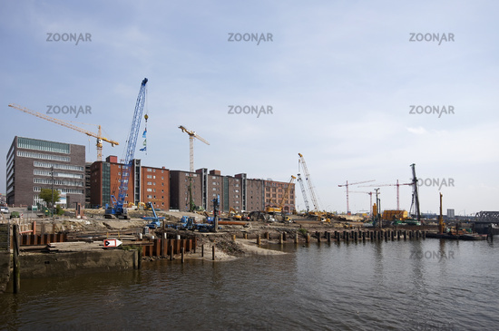 Construction works on the Elbquartier in the Hambu