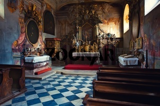 A beautiful chapel in the church interior natural lighting
