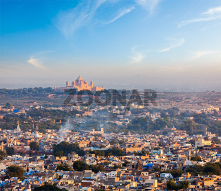 Aerial view of Jodhpur - the Blue city - with Umaid Bhawan Palace on sunset. View from Mehrangarh Fort.  Jodphur