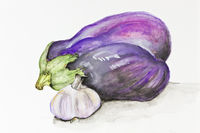 blue eggplant and garlic