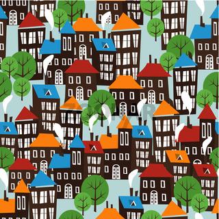 Christmas town seamless cartoon pattern