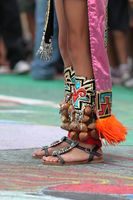 Decorated feet of an American Indian native.