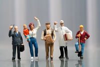 Line of diverse people in population demographics