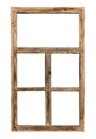 Vintage simple wooden window frame isolated on white