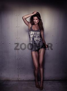 brunette woman with long legs