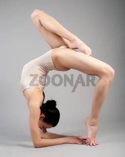 gymnast on training