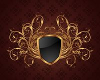 golden ornate frame with shield