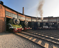 Steam Engines in German Roundhouse