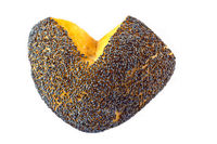 heart shaped bread roll with poppy seeds isolated
