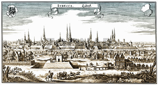 Panoramic view of  Luebeck, 17th Century, Germany, Europe