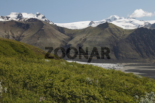 Hvannadalshnúkur and Svínafellsjökull. Hvannadalshnúkur (2110m) is the highest peak in Iceland. The peak overlooks Skaftafellsjökull