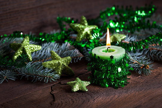 green candle for christmas
