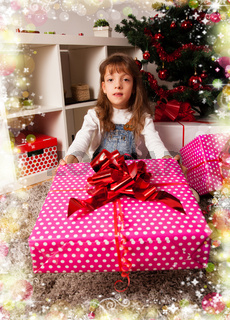Kids with their christmas presents