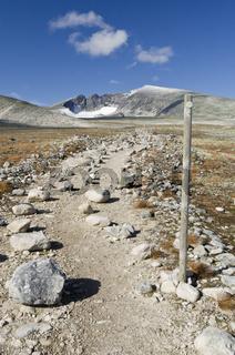 Wanderweg zum Berg Snoehetta im Dovrefjell-Sunndalsfjella Nationalpark, Oppland