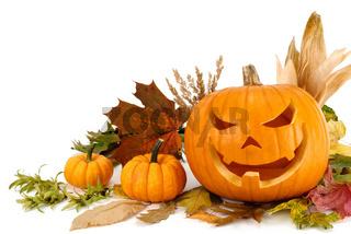Halloween Arrangement auf weiß mit Textfreiraum