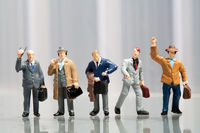 Line-up of office workers