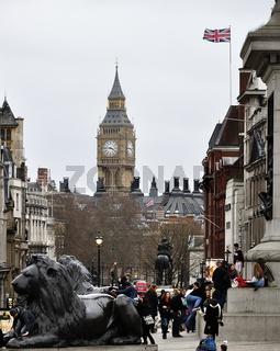 London, big ben and flag.