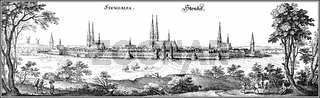 Panoramic view of the Stenadal skyline, 17th century, Germany, E