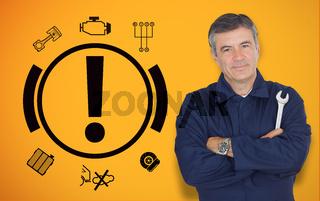 Mature mechanic standing next to car warning signals