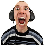 Funny man in stereo headphones shouting