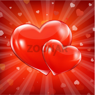 Red Sunburst Backgrounds With Beams And Hearts