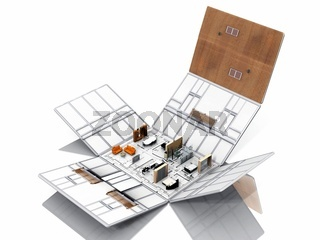 Folding of house with furniture