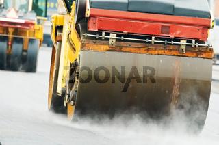 compactor roller at asphalting work